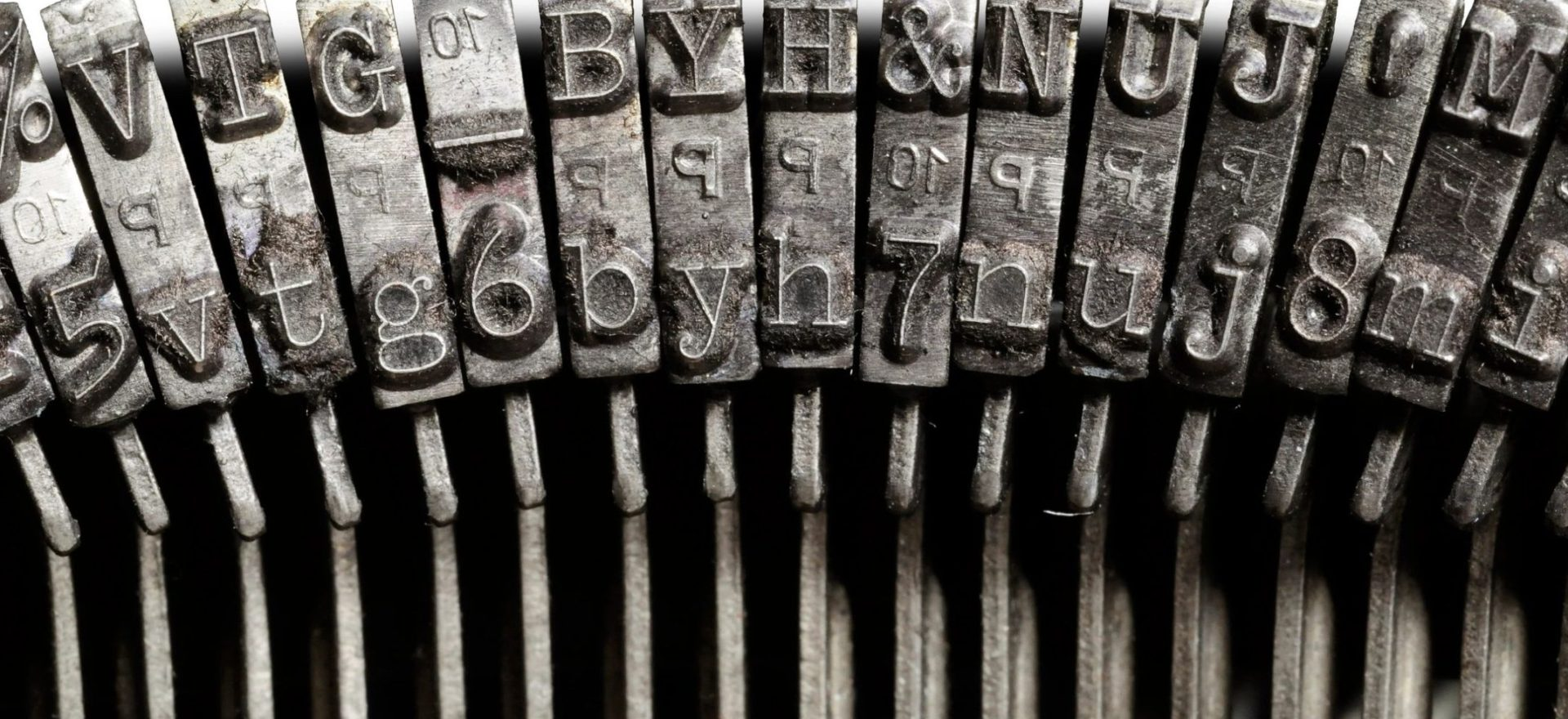 close-up of the inside of typewriter stamps